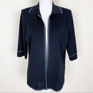 Misook black with blue trio cardigan top